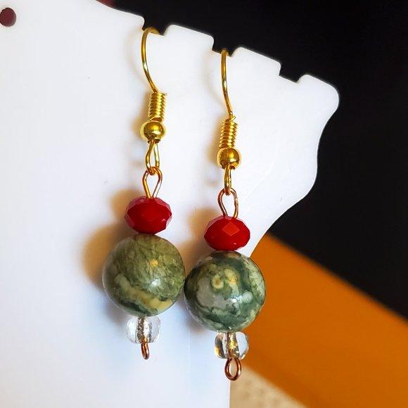 Gold Tone Hook Green Stone Bead Dangle Earrings